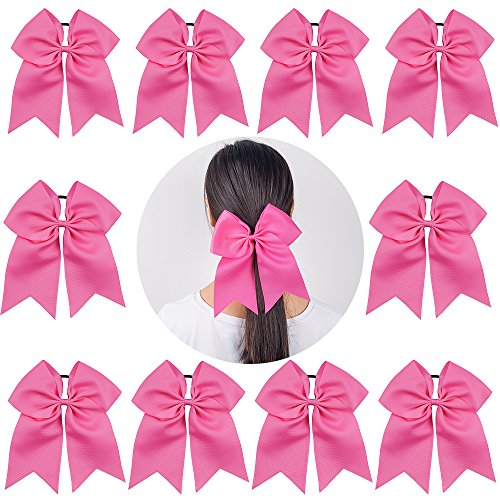 Ncmama Baby Girls Large Breast Cancer Awareness Cheer Bow Solid Hot Pink Ribbon Hair Tie Ponytail Holder - Uniform Ribbon Pink