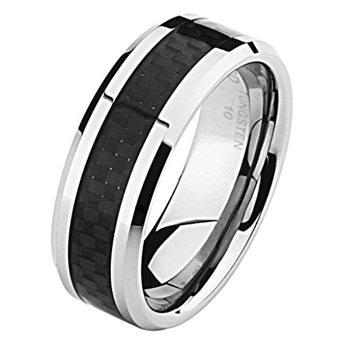 8MM Wellingsale LUXE Series Comfort Fit Wedding Band Ring with Sporty Black Carbon Fiber Inlay and Diamond Beveled Edge for Men and Women in Size 10 (Comfort Ring Sporty Wedding Fit)