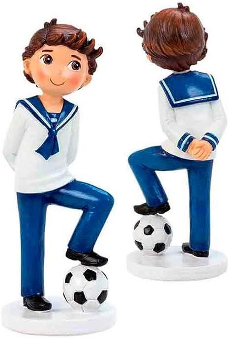 Figura Comunión para tarta, niño marinero con balón de fútbol ...