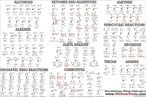 o ring chemistry. organic chemistry reactions poster \u0026 study guide for college o-chem: www.ochemtools.com: amazon.com: books o ring