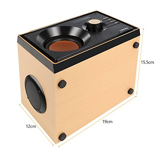 Desktop Wooden Bluetooth Speaker 10w Powerful Wireless Stereo Subwoofer Loudspeakers Music Player Support Digital Display Remote Control FM Radio TF Card USB AUX Speakers for Home Party for Phone by TOMPROAD (Image #7)
