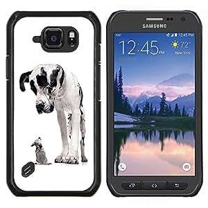 Caucho caso de Shell duro de la cubierta de accesorios de protecci¨®n BY RAYDREAMMM - Samsung Galaxy S6Active Active G890A - Gran Dan¨¦s Chihuahua Negro Spots Perros