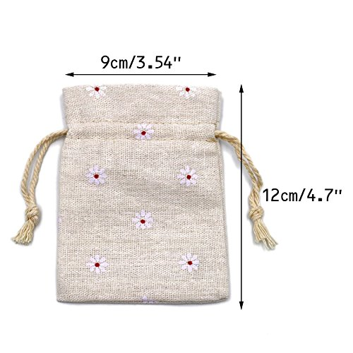 Burlap Bags with Drawstring, G2PLUS 20 PCS Cotton Burlap Drawstring Pouches Christmas Gift Bags Wedding Party Favor Jewelry Bags 3.5'' x 4.7'' (White Daisy)