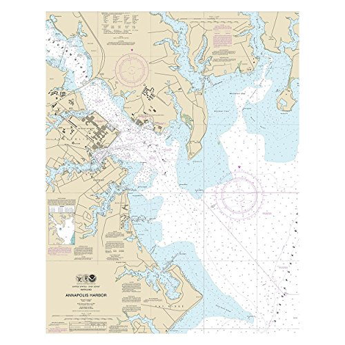 Annapolis Harbor Chesapeake Bay Nautical Chart Unframed Vinyl Art Print - Perfect for indoors / outdoors. (Harbor Bay Vinyl)