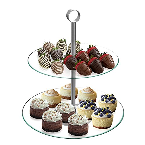 Brownie Tower - Dessert Tower-Two Tier, Round Glass Display Stand for Cookies, Cupcakes, Pastries, Hors d'oeuvres and Appetizers-Great for Parties by Chef Buddy