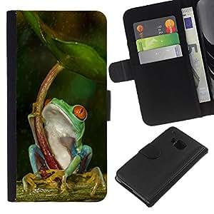 KingStore / Leather Etui en cuir / HTC One M7 / Paraguas Verde Bosque Tropical