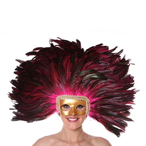 Zucker Feather (TM) - Feather Headdress Mask-Dyed - Shocking Pink