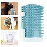 ONCIDIUM Cat Self Groomer Wall Corner Grooming Comb Upgraded Soft Rubber Bristles Kitten Massager Brush Toy 3 Installation Methods Fit for Flat Wall Corner Cage and Hand Hold (Blue)