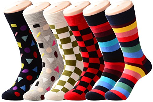 (PUTON Men's Fun & Funky Colorful Cotton Dress Socks (Assorted 10))