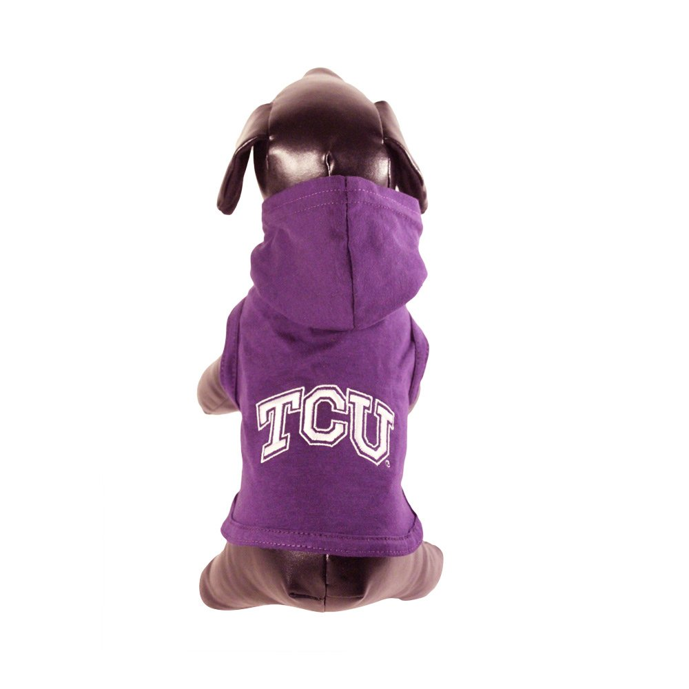 All Star Dogs NCAA Texas Christian Horned Frogs Cotton Lycra Hooded Dog Shirt, Small