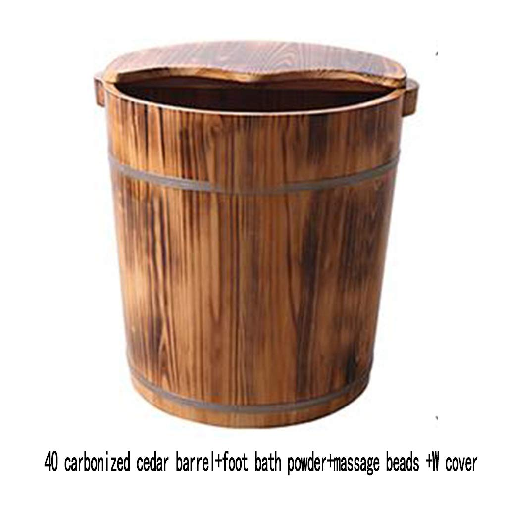 Foot Bath Tub, Household Wooden Barrel, Heightens 40cm Carbonization , with Cover Foot Bath Barrel (Size : Covered) by None