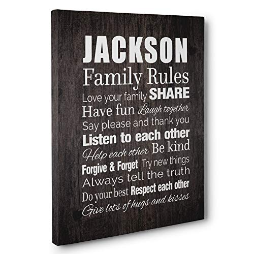 (Family Rules Subway Art Typography Personalized Gift CANVAS)