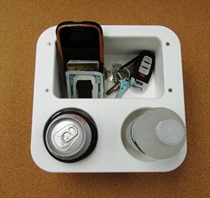 Large Two Beverage Cup Holder w Storage Box Catch all by APF Marine