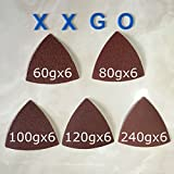 XXGO 30 Pcs 3-1/8 Inch Triangular 60 / 80 / 100 / 120 / 240 Grit Sandpaper For Wood Contains Six of Each Fit 3-1/8 Inch Oscillating Triangle Sanding Pad Multi Tool