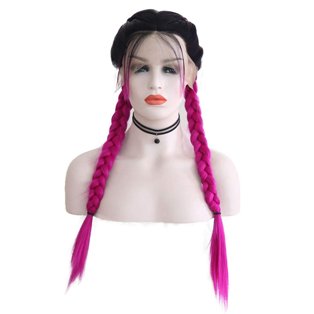 Tuscom Double Lace Front Wig Long Straight Hair Multi-Color Braid Wig Optional,26 in Soft Breathable Ombre Baby Hair Wigs,for Costume Carnival Masquerade Christmas (Watermelon Red)