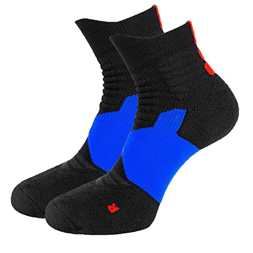 (Toes&Feet Men's 2-Pack Black Cushioned Ankle Compression Basketball Socks)