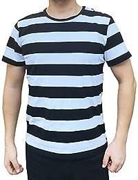 Men Boy Crew Neck Black White Striped T Shirt Tee Outfits Tops