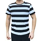 #10: Ezsskj Men Boy Stripes Tee Tops Crew Neck Black White Striped T Shirt Outfits