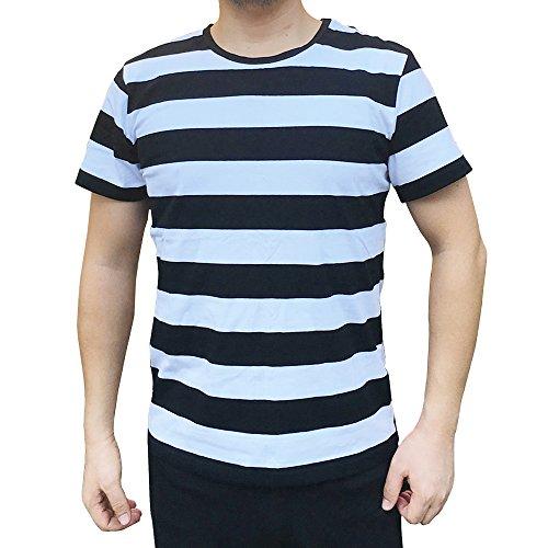 Striped Crewneck Shirt (Ezsskj Men Boy Crewneck Black White Striped T Shirt Tee Outfits Tops (Medium, Black/White))