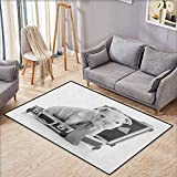 "Rectangular Rug,English Bulldog,Tie Wearing Puppy Sitting Inside a Briefcase Greyscale Illustration,Extra Large Rug,4'11""x6'10"" Grey Pale Grey"