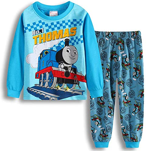 Boys Pajamas Sets Children Christmas Pants 100% Cotton Spider-Man Long Kids Snug Fit Pjs Winter Toddler Sleepwear (Blue Thomas, 7T)]()