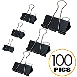 Binder Clips Paper Clamp - Assorted Sizes 100 Count (Black) Heavy Duty Metal Clip | Perfect for Home & Office, Assorted 6 Sizes, Black.