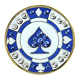 Blue Spade Poker Chip Ball Marker Accented by Genuine Swarovski Crystals with Magnetic