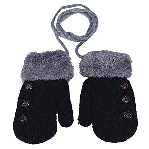 Auxma Por 0-4 años de edad,Guantes calientes de los niños muchachas de los bebés del niño de guantes de punto Guantes Leaf Negro