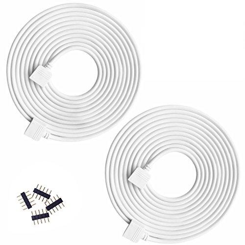 Kabenjee 2X RGBW/RGBWW Color Changing Flex LED Strip Light 5pin 3m/9.8ft Extension Cable Connector,RGBWW LED Tape Solderless Adaptor Connector Cable for 5-Strand 10mm/12mm Osram RGBWW Strips