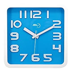 Maytime Modern Silent Non-ticking Wall Clock 3D Number Square Quiet Wall Clocks Large Blue 9 Inch