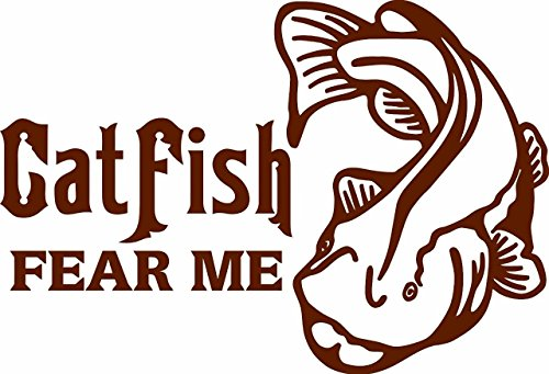Catfish Fear Me with Catfish - Fishing Fisherman Hunting Hunter Animal Vinyl Wall Sticker Decal Home Decor Childrens Bedroom Boys Girl - 22 x 15 Inches Color ()