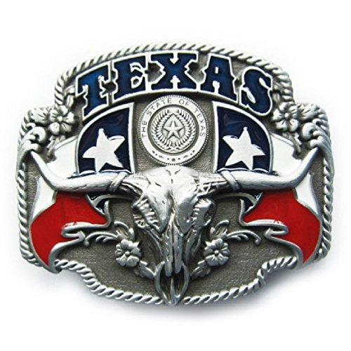 Texas State Cowboy Flag Rodeo Belt Buckle - Texas Flag Belt Buckle