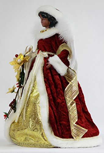 14 Inch Standing Red Floral African American Black Angel Christmas