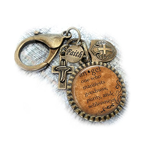 Keychain Definition (Angel Keychain Backpack Clip - Purse Clip, Definition, Christian, Inspirational Gift, One Who Manifests Goodness, Purity and SelflessnessK)