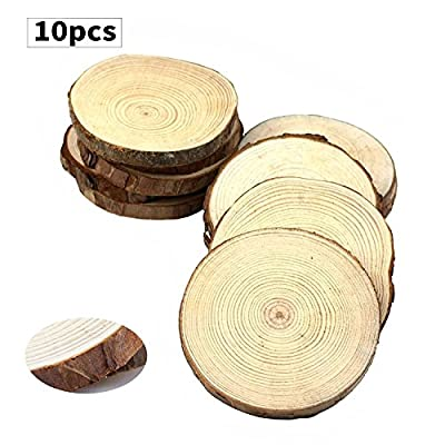 """Fuhaieec 50pcs 2.4""""-2.8"""" Unfinished Natural Wood Slices Circles with Tree Bark Log Discs for DIY Craft Christmas Rustic Wedding Ornaments"""
