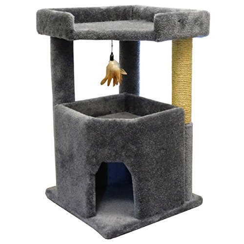 Gray Cat Rope (Carpet Cat Furniture for Large Cats 33 inch Big Condo, Spacious Bed & Sisal Rope, Gray Carpet)