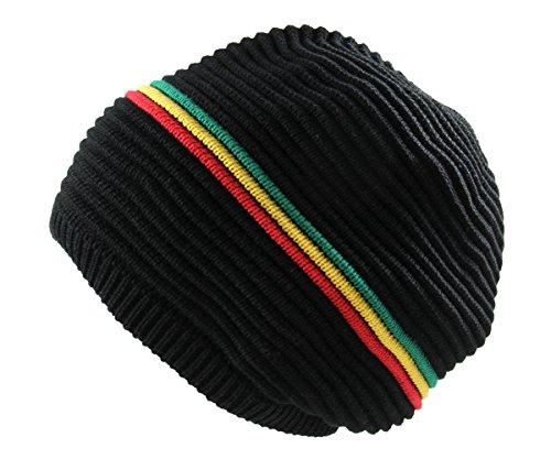 RW Rasta 100% Cotton Knitted Beanie (BLACK/RASTA)