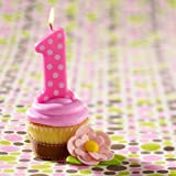 Oasis Supply 1St Birthday Polka Dot Girl Candles 3.25 Inch
