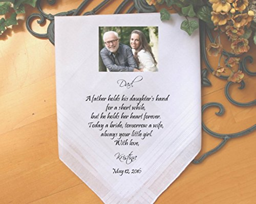 Father of the Bride handkerchief, PRINTED with PHOTO option, a father holds his daughter, your little GIRL, Dad Gift,Personalized. MS2FPRIS by Snugahug