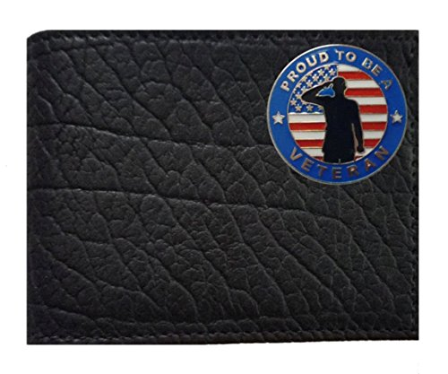 made Veteran Black American Leather Buffalo Flip Rugged on Bi Proudly a Proud Concho in USA fold the Wallet Black ID Custom q1zCTET