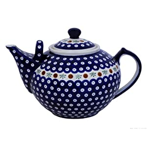 Polish Pottery Boleslawiec Teapot, 3L in RED DOT pattern