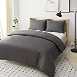 Non-Iron Duvet Cover Set 3 PCS Single Plain Brushed Microfiber Bedding Duvet Cover with Pillowcases (Grey)