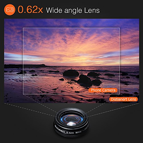 6-in-1 Cell Phone Camera Lens Kit, 12x Telephoto Zoom Lens, 0.62x Wide Angle & 20x Macro, 235° Fisheye, Starburst, and Professional CPL Lens+ Phone Holder & Tripod for iPhone X/8/7/6/6s Plus, Android, by Distianert (Image #2)