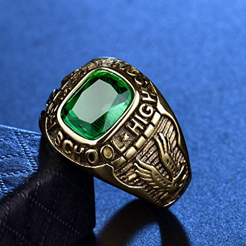 Anillo de graduación con piedra de color verde - Libro Viral