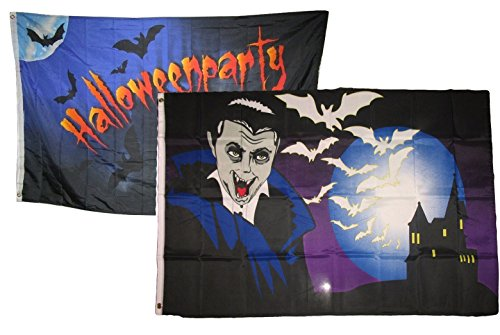 ALBATROS 3 ft x 5 ft Happy Halloween 2 Pack Flag Set Combo #20 Banner Grommets for Home and Parades, Official Party, All Weather Indoors Outdoors ()