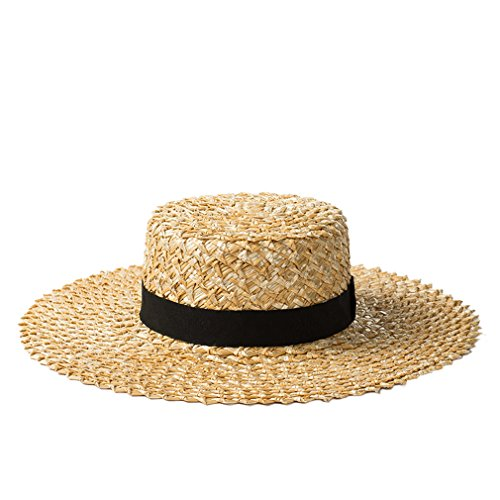Nafanio Womens Hand-Woven Lace Straw Hat Ladies Travel Sunscreen Beach Hat (Hand Woven Cap Straw)