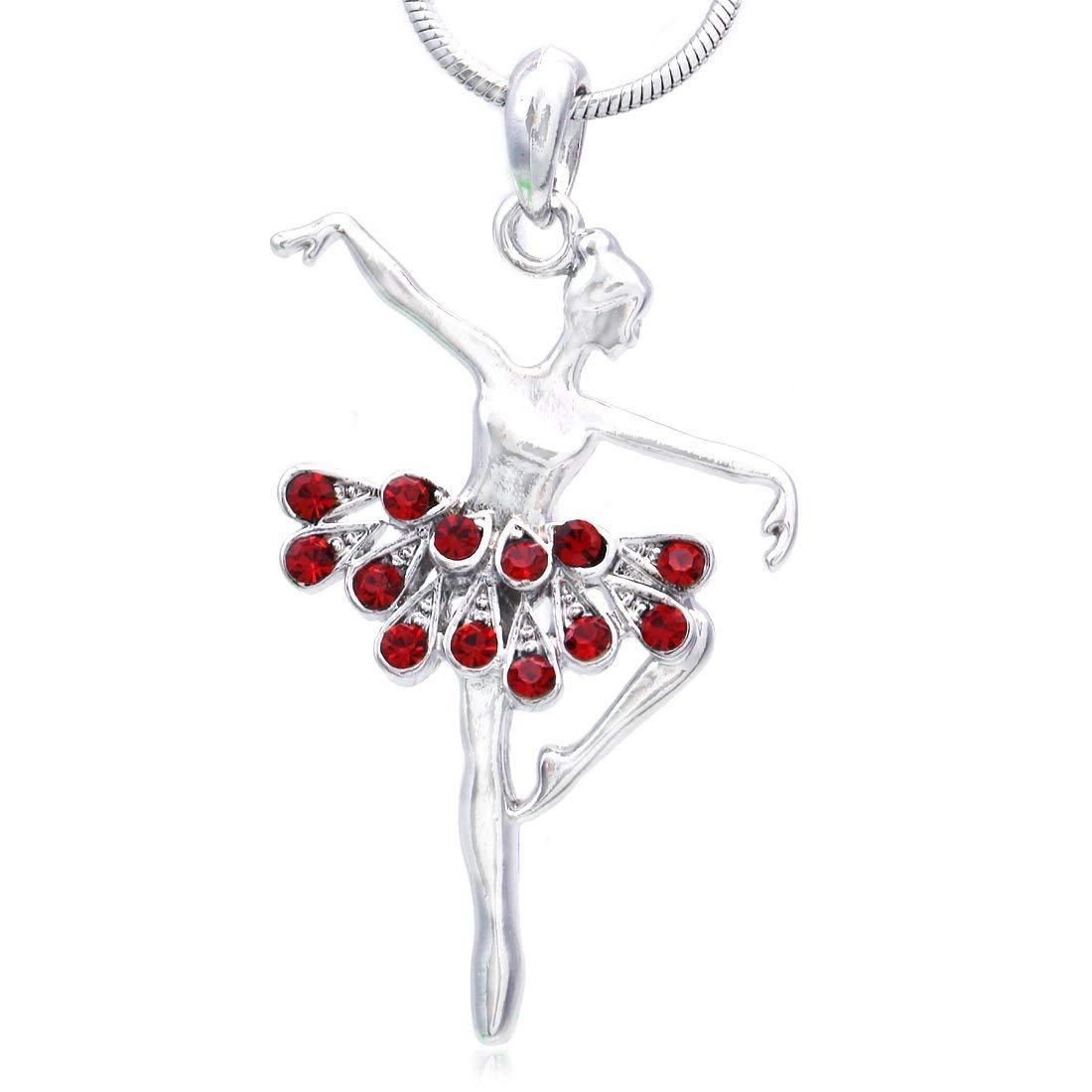 Soulbreezecollection Dancing Ballerina Dancer Ballet Dance Pendant Necklace Charm n835red