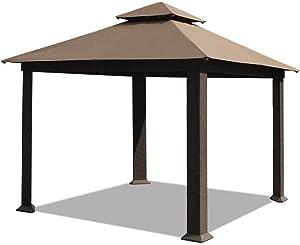 EliteShade 12x12 feet Sunbrella Titan Patio Outdoor Garden Backyard Gazebo with Ventilation and 5 Years Non-Fading,Cocoa