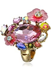 "Betsey Johnson ""Spring Glam"" Crystal and Flower Stretch Ring, Size 7"