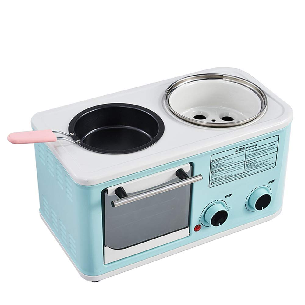 JINJN Retro 3-in-1 Family Size Breakfast Station Multifunctional Toaster Oven Combo Mini Cooking Pot Non-Stick Frying Pan
